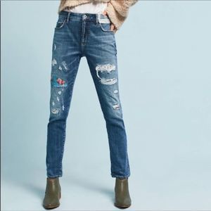 Anthropologie Pilcro Slim Boyfriend Patch Jeans